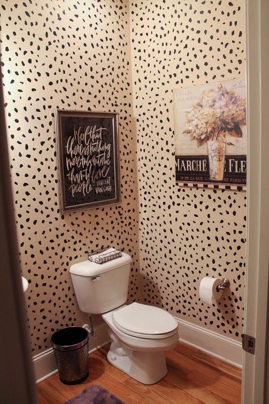 Gratefully Inspired Powder Room Reveal Diy Leopard Wallpaper Abode In 2018 Pinterest And