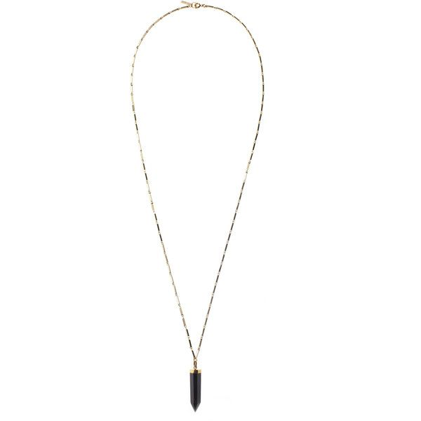 Isabel Marant Black Prism Necklace ($385) ❤ liked on Polyvore featuring jewelry, necklaces, charm jewelry, kohl jewelry, black jet jewelry, flat necklace and lobster claw charms