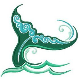 Whale's tail machine embroidery design. Machine embroidery design. www.embroideres.com