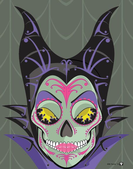 Maleficent Sugar Skull Print 11x14 print by NutCracks on Etsy, $19.00