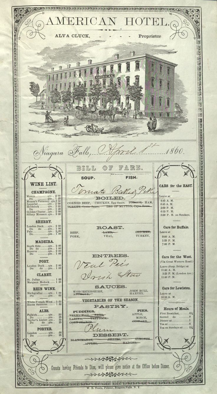 American Hotel restaurant menu (April 1 1860)