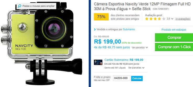 Câmera Esportiva Navcity Verde 12MP Filmagem Full HD 30M à Prova d'água  Selfie Stick << R$ 19900 em 4 vezes >>