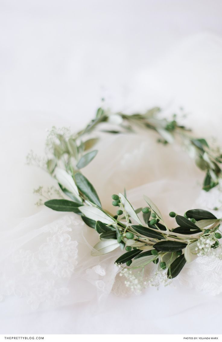 Instead of a floral crown try a beautiful olive wreath | Real wedding | Photograph by Yolande Marx