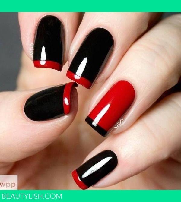uñas francesas negra y roja