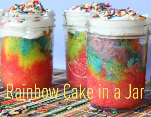 Cute version of rainbow cake: Desserts, Recipe, Birthday Treats, Birthday Parties, Rainbow Cakes, In A Jars, Rainbows Cakes, Rainbows Cupcakes, Cloud Frostings