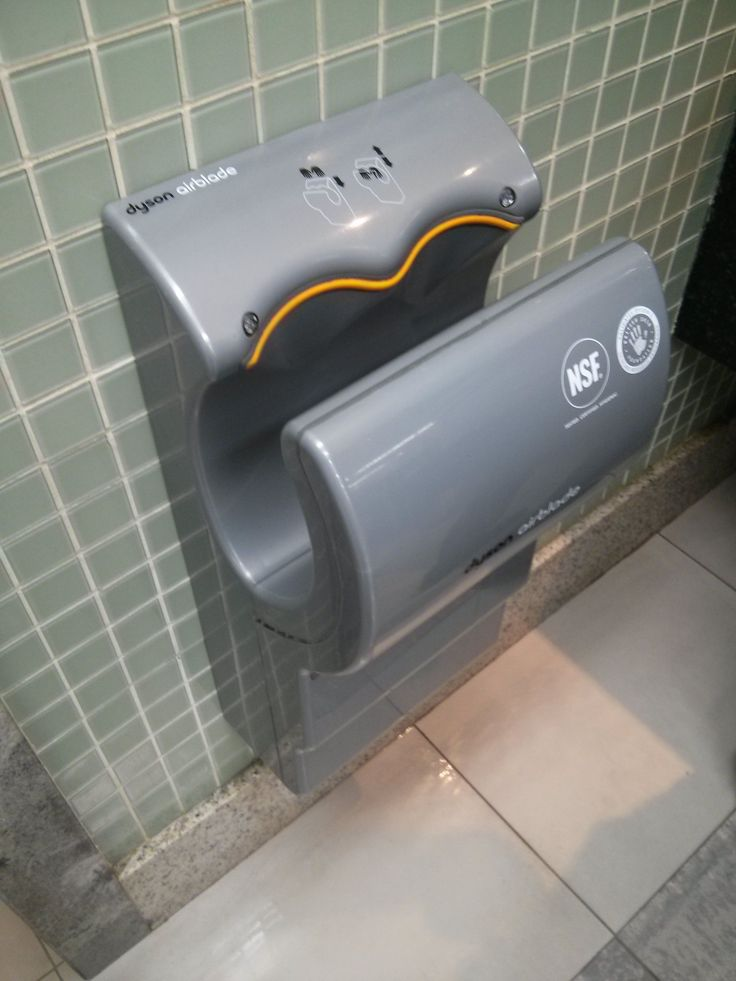 Found this hand dryer in Recife, PE shopping mall. Most I've been used for had me holding my hands up and getting the floor below wet. This one improves over that: I can rest my hands and keeps the ground clean.