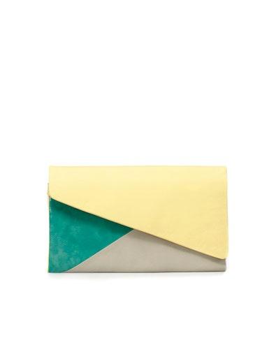 Zara tricolor clutch in lime green