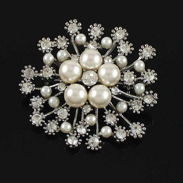 """2"""" Gold Plated Clear Rhinestone Crystal Diamante Ivory Pearl Snowflake Wedding Brooch-in Brooches from Jewelry on Aliexpress.com 