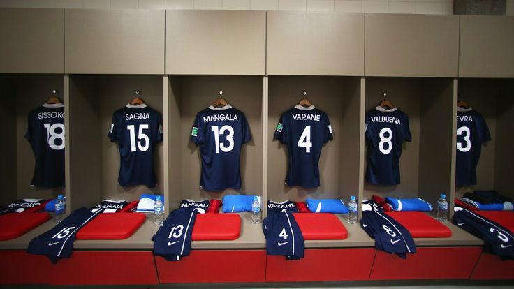 France shirts hang in the dressing room