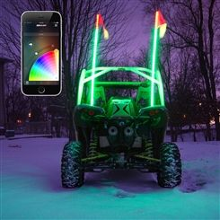 XKGLOW Xkchrome iOS Android App Bluetooth Smartphone Control 2x LED whip light for ATV UTV 4x4 Offroad Campatible with Android iPhone, iPad, and iPod Touch