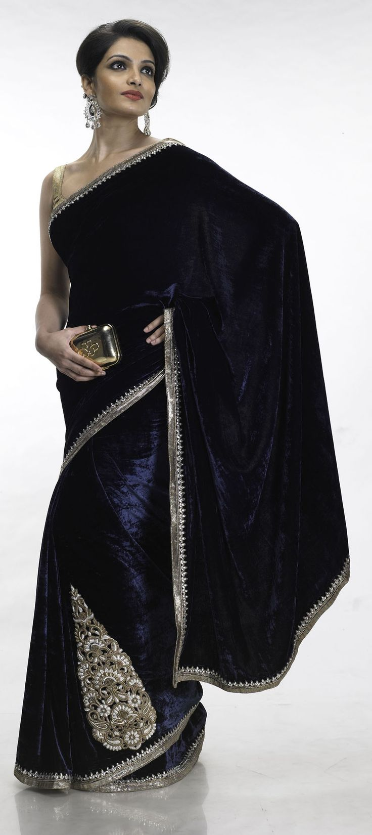Royal velvet sari, stunning for an engagement party