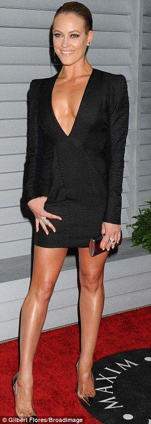 Little black dress: Peta showed off her toned dancer's body in the skimpy number...