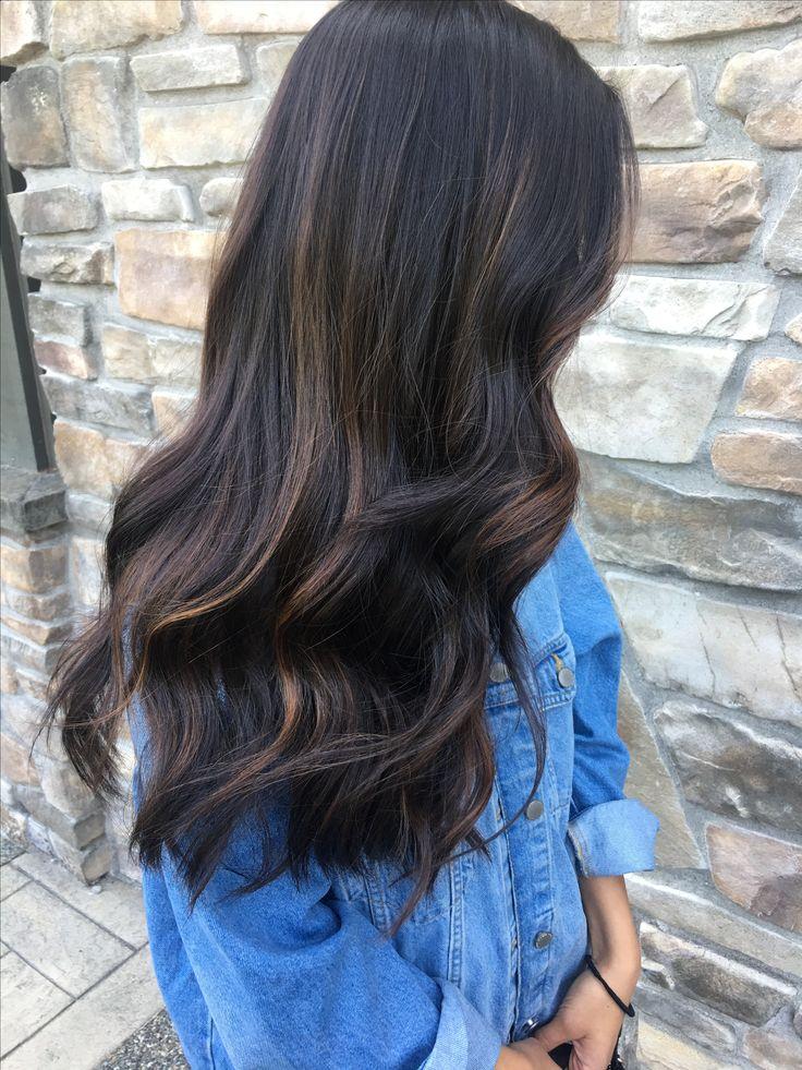 subtle dark hair caramel balayage