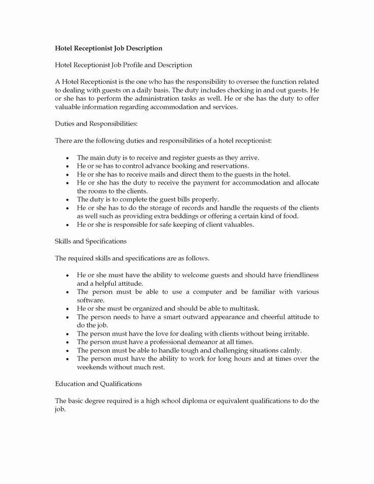 Receptionist Job Description Resume Reception Job