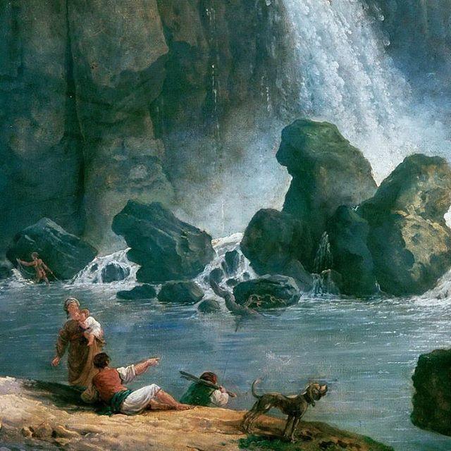 Au bord de l'eau... Les cascatelles de Tivoli vues par Hubert Robert à la fin du XVIIIeme siècle , un détail d'une des nombreuses versions.