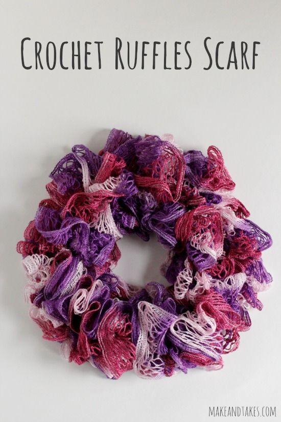 Crochet Ruffles Scarf Free Pattern makeandtakes.com #crochetaday