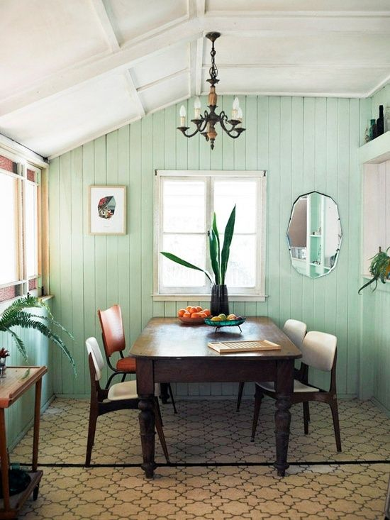 Mint walls, really like this for a cozy cute kitchen. Even a little more teal in there too.
