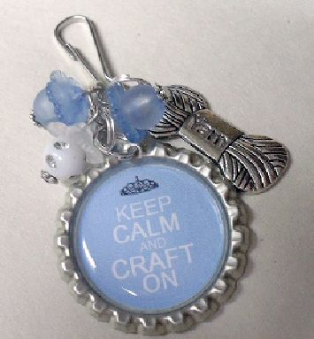 """""""Keep calm and craft on"""" flattened bottle cap"""