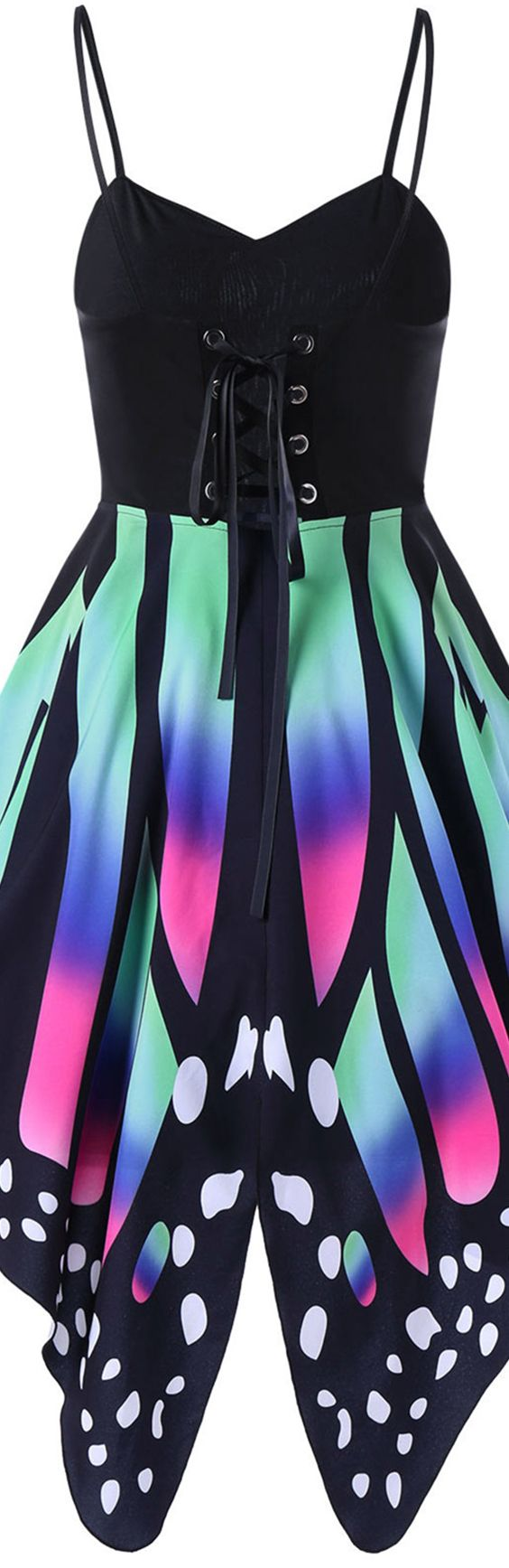 $19.32 Butterfly Print Lace Up Slip Dress