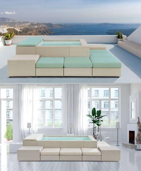 Salone del Mobile 2017:Piscine Laghetto propongono Playa Living un sistema di sedute con piscina incorporata: in mostra da Circuito White in the city – Palazzo Cusani nel Brera Design District.