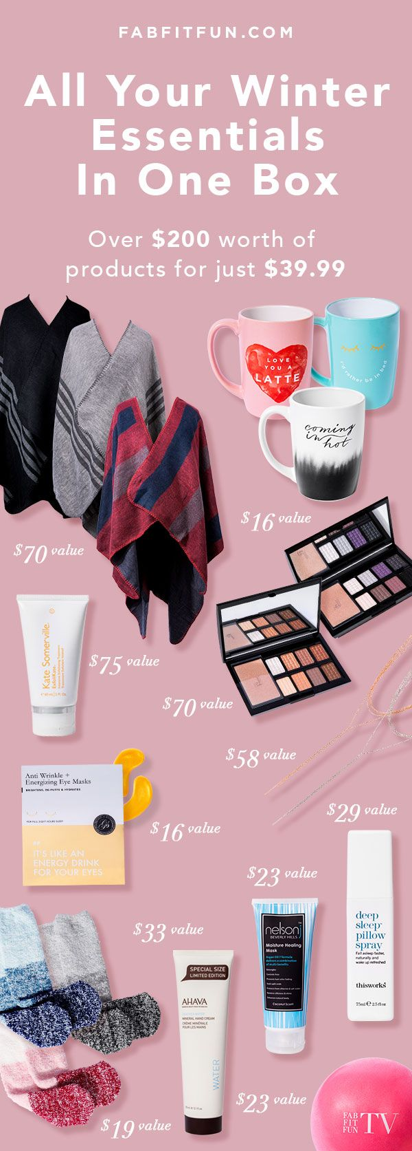 Winter is coming! Get all of this for $39.99 with code EXTRA. FabFitFun is a great way to discover the season's must have beauty, fashion, & wellness products at 70-80%!