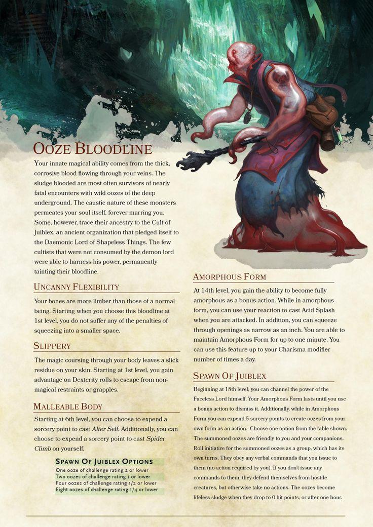 Sorcerer Subclass: Ooze Bloodline