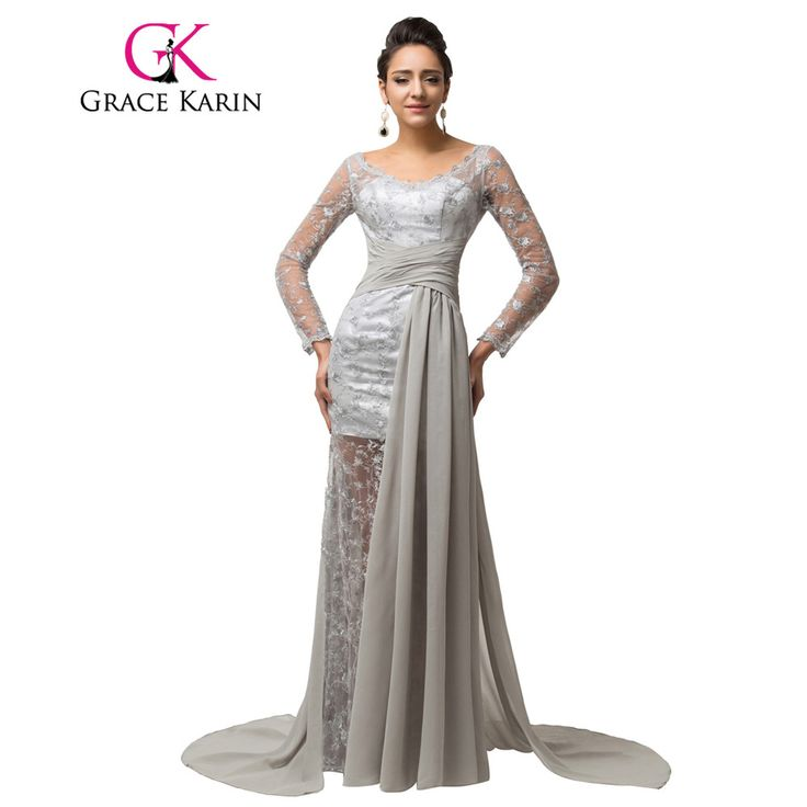 Grace Karin Grey elegant Long Sleeve Evening dresses 2017 Women Mother of the Bride Lace dresses Formal evening gowns 7586