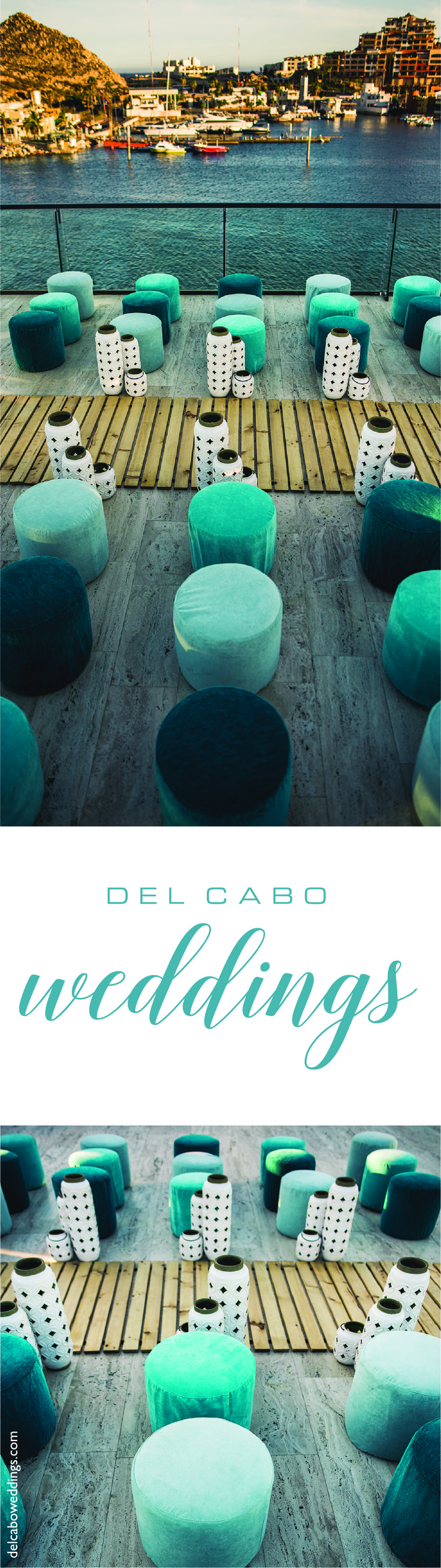 How about a beach wedding besides Cabo's beautiful marina? Get your sea glass tones décor for a special touch at your destination wedding in Cabo San Lucas!