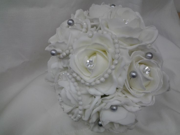Poly foam roses with pearl and beading decoration