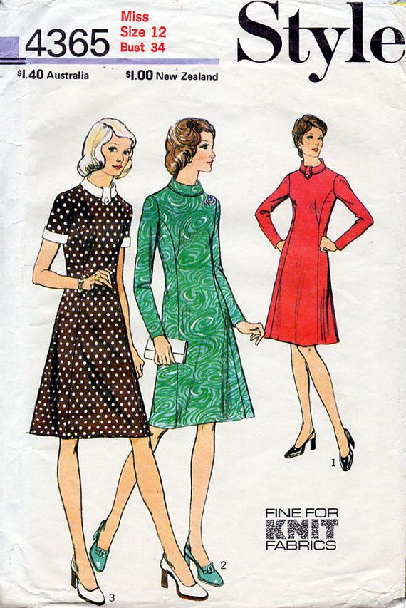 1970s Princess Line Dress Pattern Style 4365 Vintage Sewing