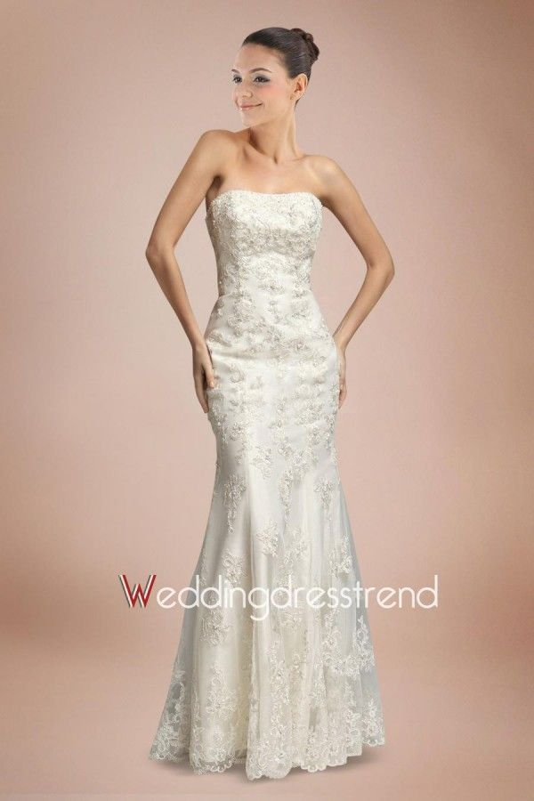 Best Wonderful Beaded Strapless Lace Mermaid Wedding Dress With Appliques