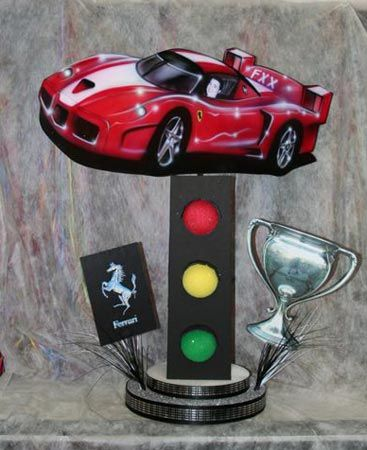 Race Car Centerpiece by Life O' The Party - Mazelmoments.com