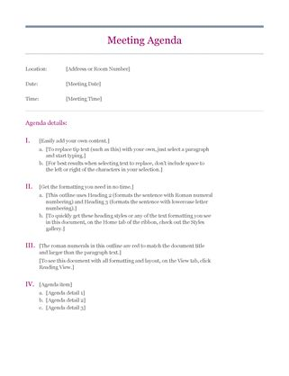 Oltre 25 fantastiche idee su Meeting agenda template su Pinterest - meeting agenda templates word