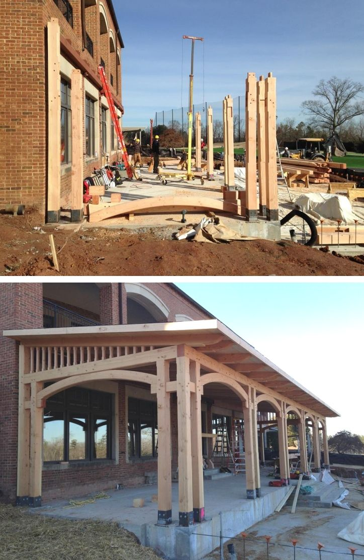 36 best timber frame entryways come on in with style for Timber frame porch addition