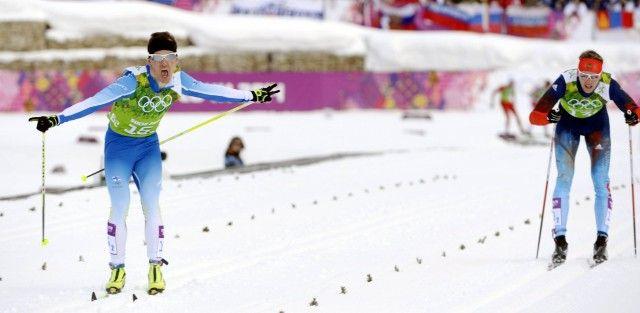 Sotshin talviolympialaiset ... Sochi 2014 Winter Olympics Sotsi Sotshi Sochi / Venäjä - 19.02.2014 Iivo Niskanen and Sami Jauhojärvi (IN PIC) wins Olympic Gold medal of Team Sprint Classic during the Sochi 2014 Winter Olympics in Sochi, Russia on 19th Feb., 2014.   Copyright: Lehtikuva Lähde: Lehtikuva Kuvaaja: Jussi Nukari