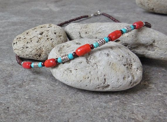 Southwestern Short Necklace, Native American Colors, Bohemian Glass Beaded Necklace, Everyday Dainty Boho Gypsy Necklace, Indian Blue Red
