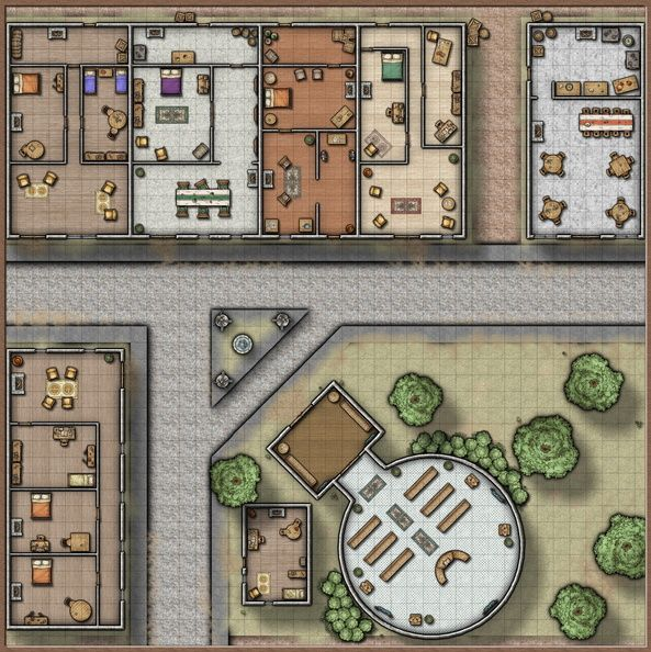 Village Street - A generic village or city street with some single floor dwellings, a tavern, and a temple.