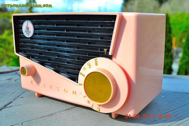 BLUETOOTH MP3 READY - AWESOME Pink And Black Retro Vintage 1957 Emerson 851 AM Tube Radio Totally Restored!