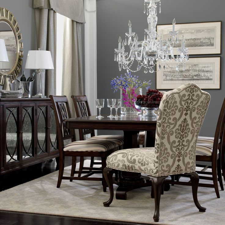 Ethan Allen Dining Room   I Think I Want Two Edwin Dining Chairs In This  Pattern
