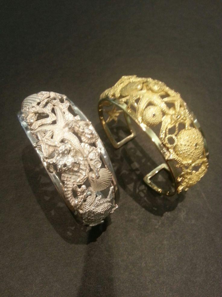 Bracciali rigidi in oro giallo 750/°° e in argento 925/°°