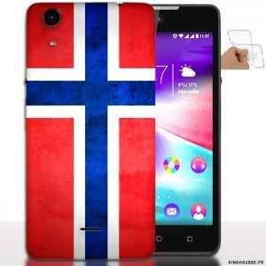 Etui telephone wiko Rainbow Lite Drapeau du Monde Norvège / Coque Silicone. #Wiko #norvege #Coque #Housse