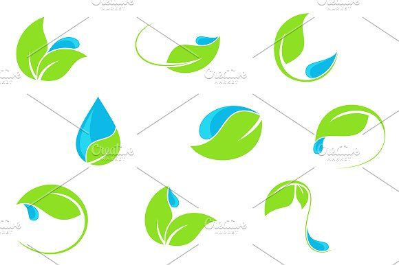 Water and leaf vector icons set by InkySplash on @creativemarket