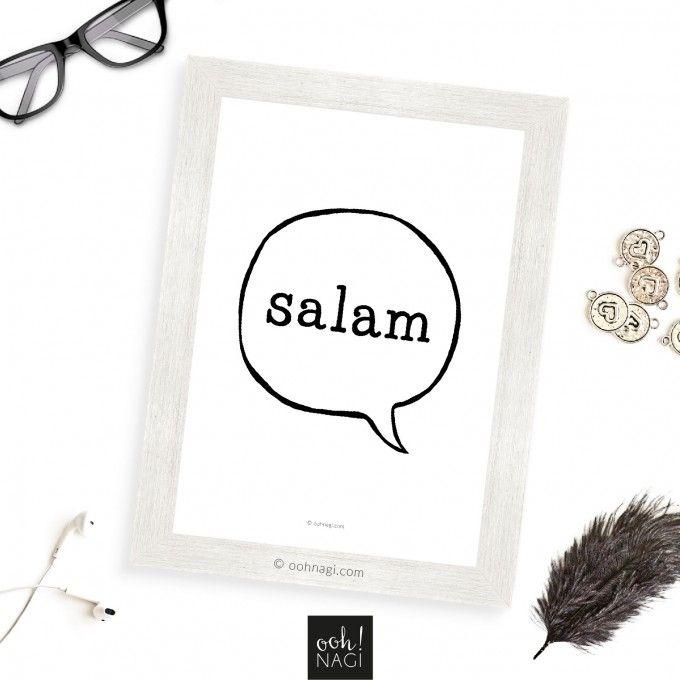 Islamic, art, print, designer, modern, contemporary, salam, greeting, speech bubble, black and white, handmade, digital, muslim