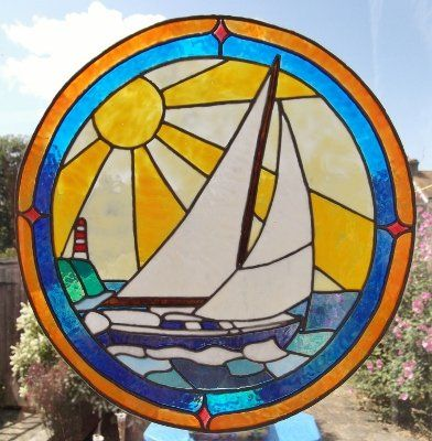 Art Deco Sailing Ship Static Window Cling Hand Painted Art