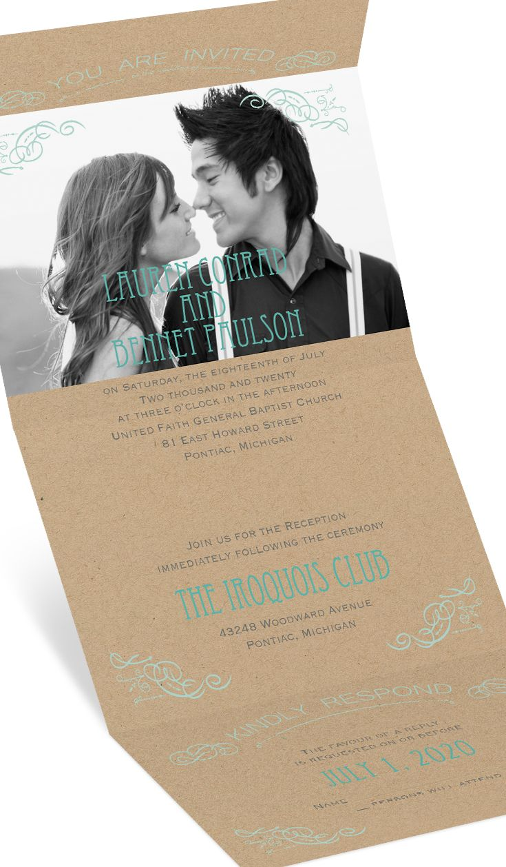 invitation letter for us vissample wedding%0A Kraft paper Seal and Send wedding invitation with photo customized in any  colors  Inviting doesn