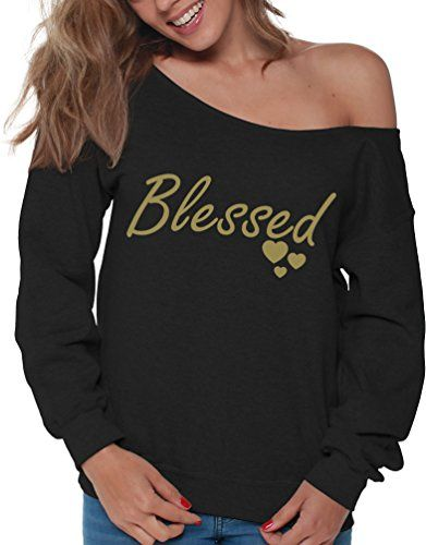 a7b76f6e53d193 Vizor Blessed Off Shoulder Sweatshirt Thanksgiving Slouchy Oversized Top  For Women