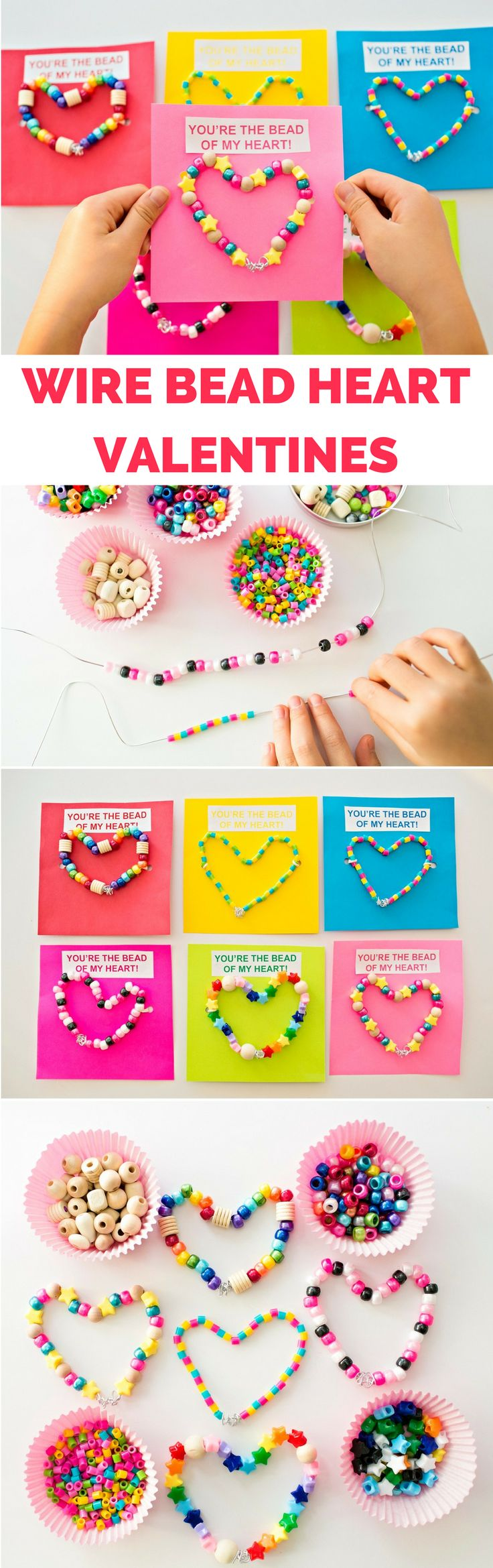 DIY Wire Bead Valentine Cards Kids Can Make. Cute Valentine favors for kids with free printable tags.
