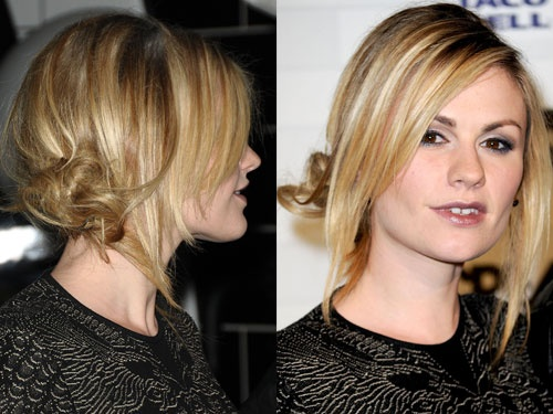 "Anna Paquin's Messy Chignon  Work a dab of mousse into damp locks and blow-dry on low speed, using your fingers to separate strands. Once you're done, give your hair a deep side-part. If you have bangs or face-framing layers, let them fall to the front and quickly run a flat iron through them. Pull the rest of your hair into a low, slightly off-center ponytail. ""Divide the hair in your pony into two sections, and wrap them around each other like you're making a twist, like a peppermint…"