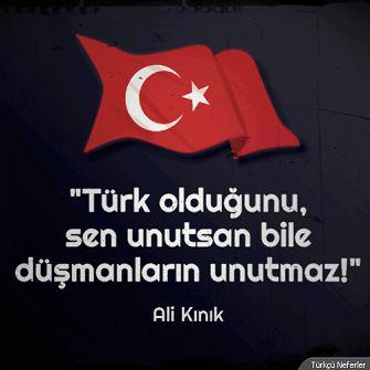 Türk olduğunu sen unutsan bile düşmanların unutmaz! ALİ KINIK Flag of Turkey More Pins Like This At FOSTERGINGER @ Pinterest
