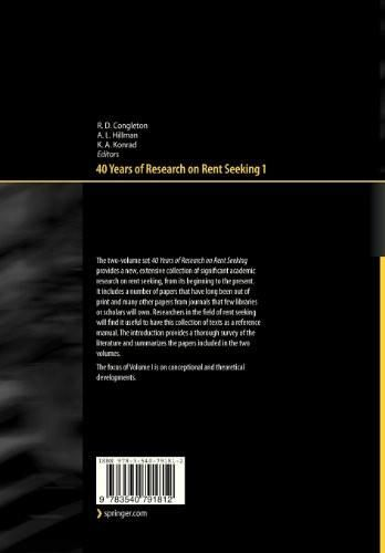 40 Years of Research on Rent Seeking 1: Theory of Rent Seeking (No. 1)
